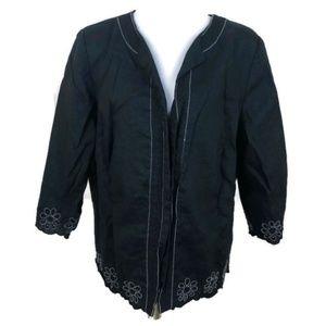 Dressbarn Women's Black 100%Linen Blazer Jacket